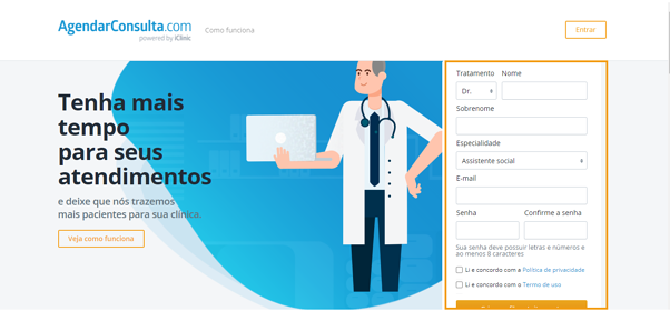criar perfil médico