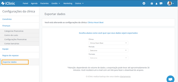 exportar dados